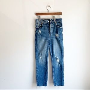 Free People Distressed Frayed and Cropped Jeans